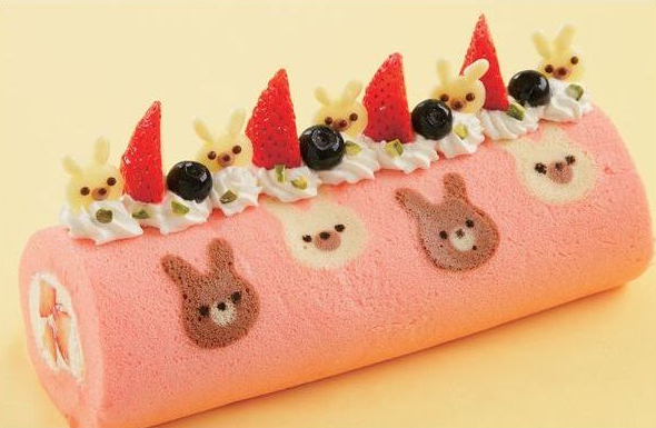 Kawaii roll cake bunnies
